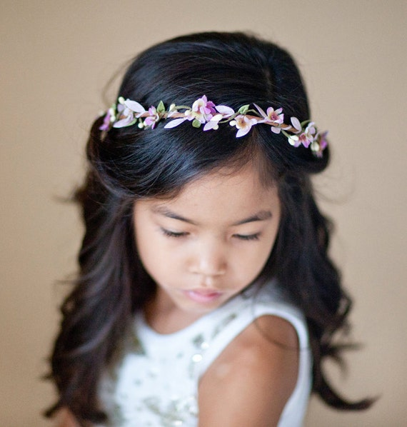 Lavender Flower Hair Wedding Style: Purple Flower Girl Headband Flower Girl Crown Lavender Hair