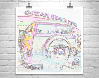 San Diego, Ocean Beach, Surf Woodie, Square Print, Automobile Art, Wall Art, California Woodie, DeSoto, Car Art, Automotive Art, Surf Woody