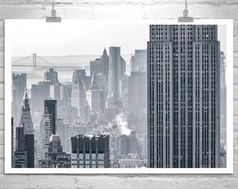 New York City Art, Cityscape Print, NYC Wall Art, Manhattan Picture, Urban Art, City Skyline, Skyscraper Photo, Empire State Building