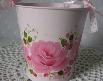 Tin Bucket Pail Hand Painted Pink Roses Home Decor Gift Basket
