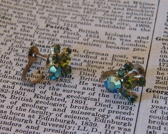 Vintage Rhinestone Aurora Emerald and Moss Screw Back Earrings - TS