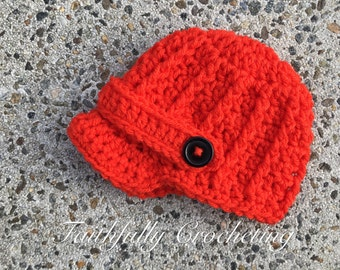 Newborn newsboy cap... Red orange hat... Ready to ship...photography prop