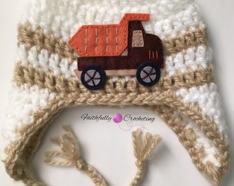 Newborn earflaps hat.. Truck decal.. Photography prop.. Ready to ship