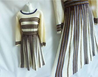 Vintage 70s Dress Size L Knit Stripe Black yellow Disco Sweater Frock 60s