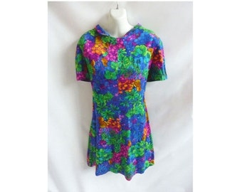 Vintage 60s Dress Size L Jewel Tone Floral Mod Cotton Shift Short Sleeve Frock