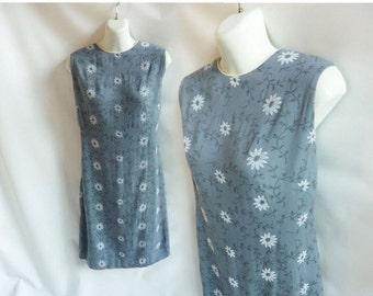 Vintage 50s Dress Size L Gray Linen Mod Shift Flocked Floral Frock 60s