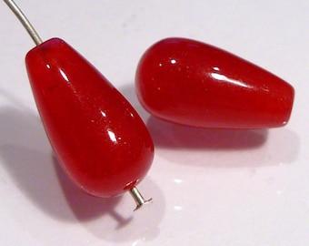Red Jade Smooth Teardrop Briolette Gemstone Beads....15x8mm....2 Beads