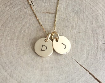 14K Gold Letter Necklace - Hand stamped & Personalized for You