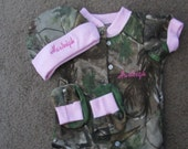 Mossy Oak Camo Camouflage 3PC Baby Infant Newborn Set Personalized Girls Pink Trim