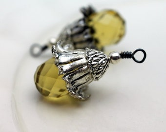 Yellow Buttercup Flower Pendant, Necklace Charm Crystal with Silver Flower Bead Cap Dangle, Springtime Jewelry