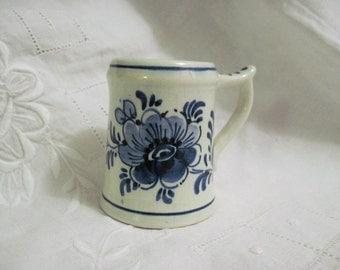 Vintage Toothpick Holder - Delfts, Holland - Blue and White Ceramic Toothpick Holder - Tiny Vase