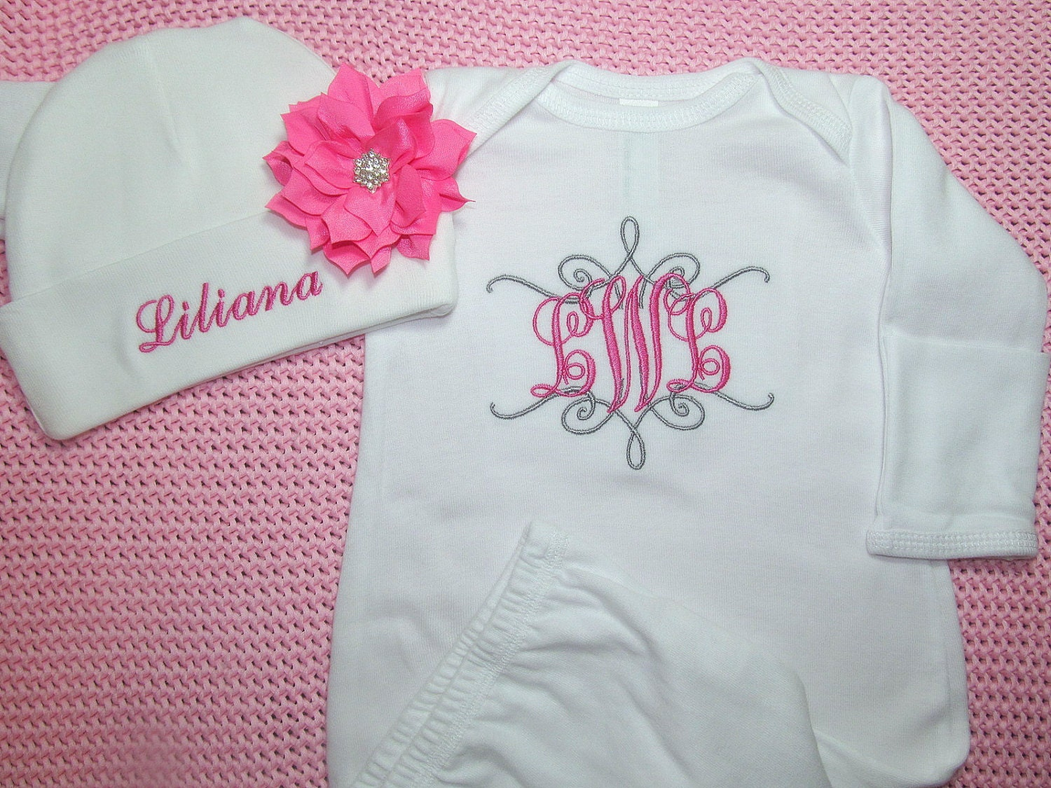 Personalized Baby Girl Gown Mitten Cuffs Flower Headband Or