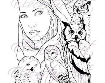 DIGI Stamp Printable Srapbooking Card Making Crafts Fairy Fantasy Owls Nature Shaman Wisdom Barn Snowy Owl Digital Stamp Download Coloring