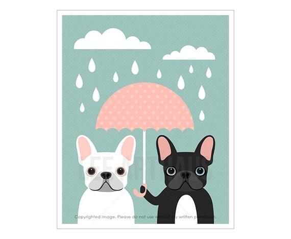 37F Dog Prints - White and Black French Bulldogs with Pink Umbrella Wall Art - French Bulldog Print - Pink and Blue Wall Art - Dog Wall Art