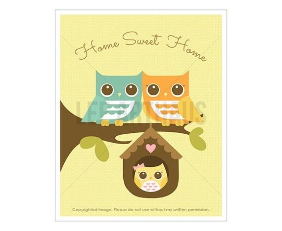 23T Owl Decor - Home Sweet Home - Owl Parents with Baby Girl Owl Wall Art - Girl Nursery Art - Housewarming Gift - Owl Theme - Owl Art Print