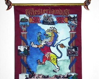 Lannister- Game of Thrones, medieval style wall tapestry.The Westerlands- illuminated painting. Song of Ice & Fire. Limited-edition piece.