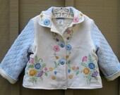 Size 3 Baby Girl Vintage Embroidered Jacket Floral