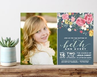 lds baptism invitation, girl baptism invitation, printable baptism announcement - vintage floral announcement