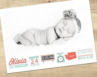 baby birth announcement / photo birth announcement / baby boy birth announcement / girl birth announcement /  PRINTABLE birth announcement