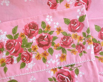 Vintage Pink Rose Twin Flat Sheet - Very Girlie Floral - Mint Condition