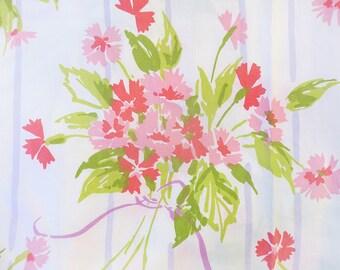 Vintage Pink Carnation Floral Twin Flat Sheet