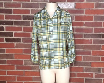 VTG Green and Yellow Plaid Button Up // Womens Blouse // Collared Shirt // Dress Shirt