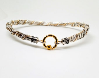 Tucker Twist No12 Sterling Silver &14kt gold filled high fashion slave collar With Gold Plated Stainless Steel Locking Clasp