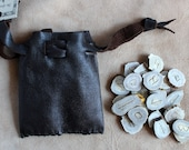Antler runes - Whitetail deer antler elder futhark rune divination set with brown leather pouch - ready to ship NOW #1