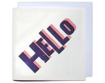 Letterpress Overprint Card - Hello