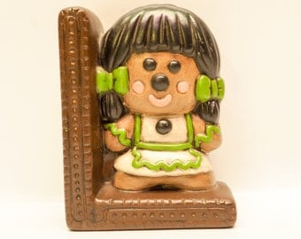 Ceramic gingerbread girl bookend