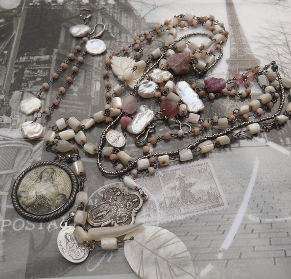 This I Pray Tourmaline & Pink Opal Antique French Cut Beads Rosary Necklace