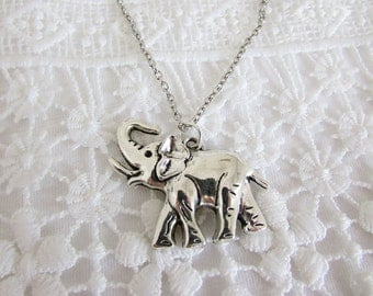 Elephant pendant necklace on silver tone chain