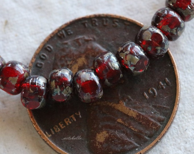 SCARLET SEEDS .. 50 Picasso Czech Glass Tri-Cut Seed Bead Size 6/0 (5353-st)