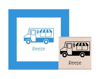 Ice Cream Truck Personalized Rubber Stamp