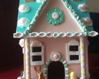 """Easter/Spring candy theme faux """"gingerbread"""" house; turquoise, pink, white"""