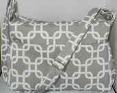 Gray Diaper Bag with Top Zipper Closure and  Adjustable Strap