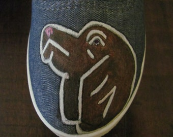 Painted dog shoes
