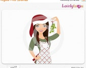 SALE Christmas woman with mistletoe, digital PNG clipart (Hana 475)