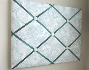 "16""x20"" French Memory Board Abstract Paisley Green Blue,  Bow Holder, Vision Board, Dream Board, Photo Display, Ribbon Board, Business Card"
