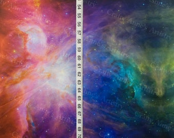 "Rainbow Galaxy Cotton Lycra Knit Fabric 60"" Wide, sold BTY"