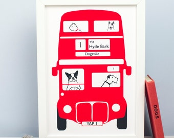 Terrier London Bus Print - Dog Print - Dog Picture - Fox Terrier Print - Giclee - Illustration - A4