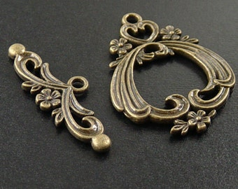 CLEARANCE Toggle Clasp 2 Sets Antique Bronze Flower Filigree Victorian Large 38mm NF (1053cla38m1)os
