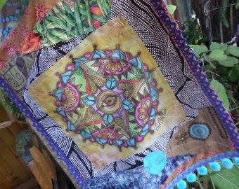 Prayer Flag, Hippie Festival, Singleton Art, Evil Eye Art, All Seeing Eye,  Visionary Art, Spiritual Art, Protective eye, third eye, C65