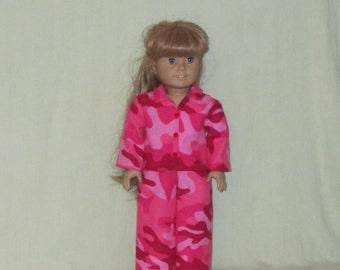American Girl Doll Pajamas Pink Camo