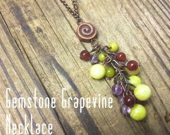 Gemstone Grapevine on Copper Necklace