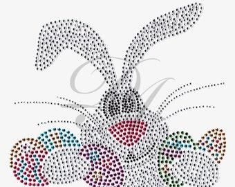 Easter Bunny Rhinestone Sweatshirt OR Long Sleeve Tee Shirt Small thru 3XL FREE SHIPPING Plus Sizes Too Spring Egg New