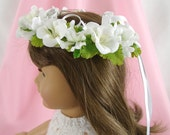 White Flower Crown for American Girl Doll 18 Inch Doll Flower Crown White Flower Crown Doll Summer Accessory Am Girl Doll White Flower Crown