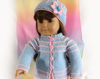 Doll Sweater and Hat for 18 inch Doll Pastel Blue and Pink Doll Sweater Knit Doll Cardigan Sweater American Girl Doll Sweater AmGirl Doll