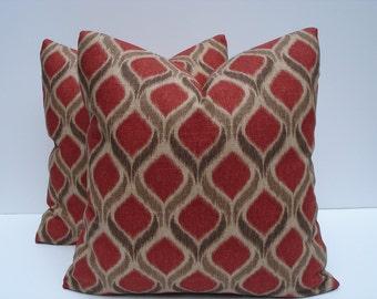 Red Ikat Pillow Covers One Pair 18 x 18 Handmade Decorative Throw Pillows Toss Pillows Accent Pillows Pair Pillow Covers Trendy Pillows
