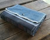 Medium Blue Jean Journal, Soft Cover Patchwork Denim Sketchbook With Snap, Repurposed Blue Jean Denim Art Journal With Snap, Blue Jean Diary